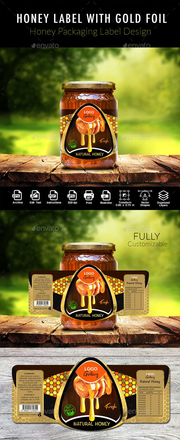 Honey Label With Gold Foil - Packaging Print Templates