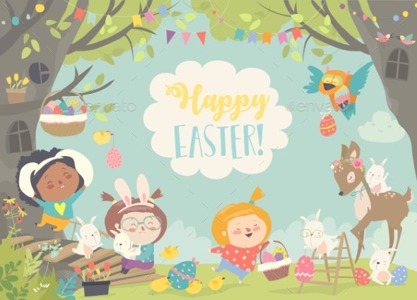 Children and Animals Celebrating Easter - Miscellaneous Seasons/Holidays