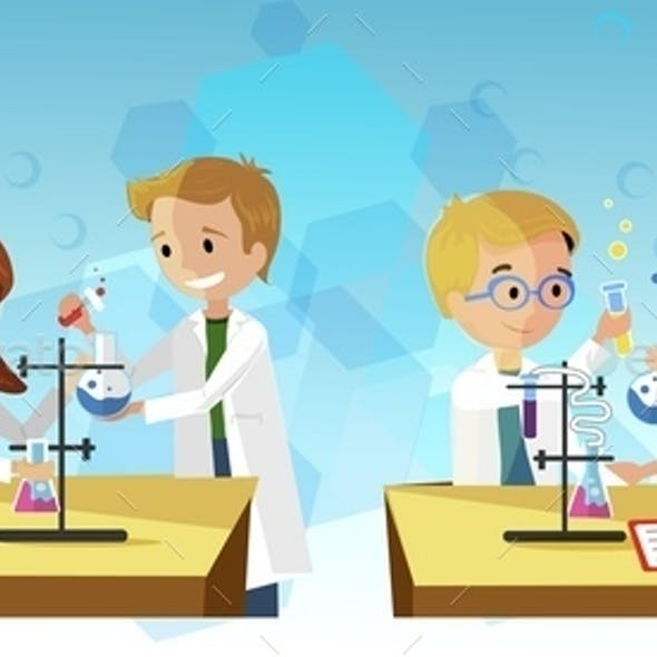 Chemistry Lesson Vector Illustration Experiment