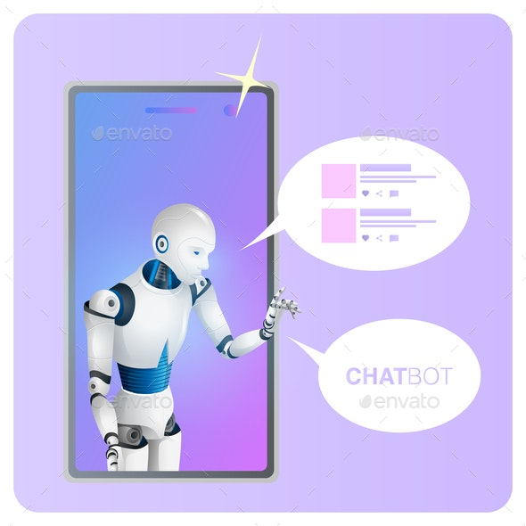 Smart Chat Bot Speech Bubble on Smartphone Screen - Communications Technology