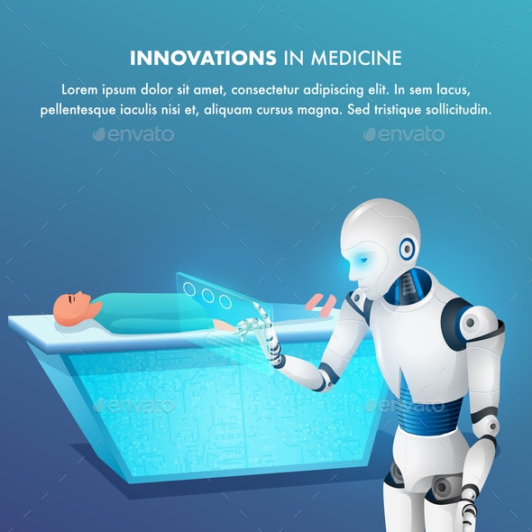 Patient on Surgical Table Smart Robot Point Tablet - Health/Medicine Conceptual