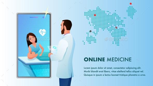 Online Medicine Doctor Videocall by Smartphone - Health/Medicine Conceptual
