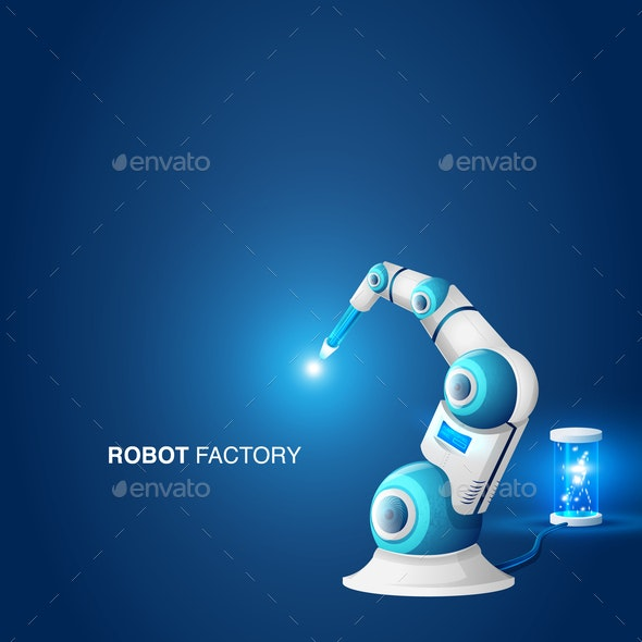 Mechanical Hand Robotic Arm Modern Factory Element - Industries Business