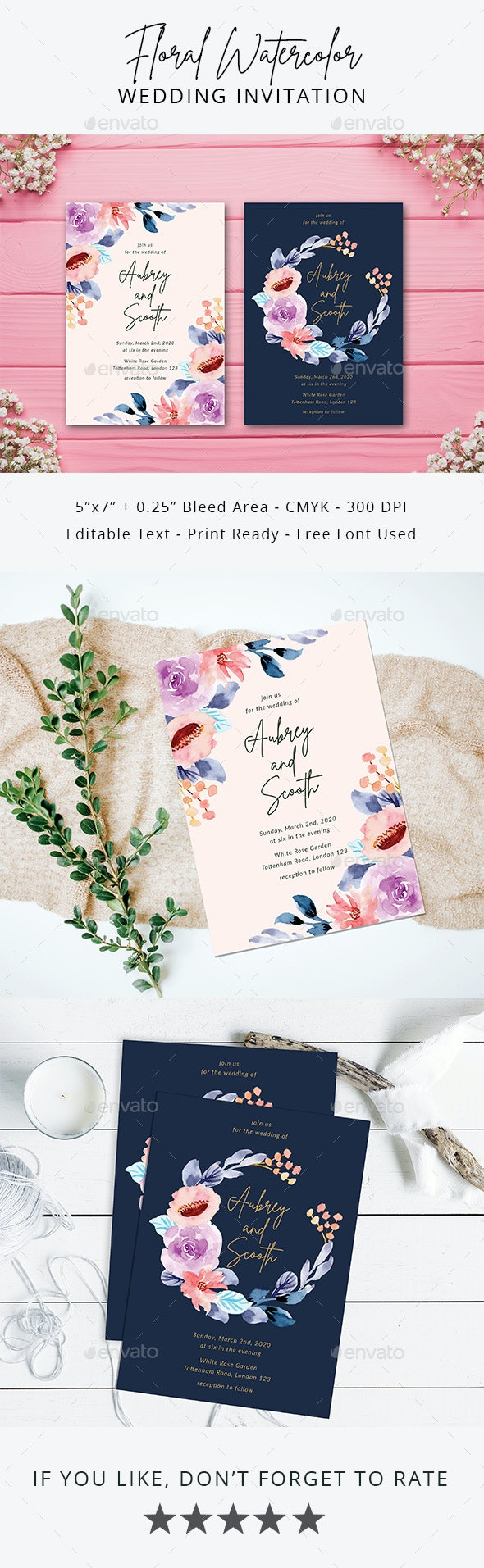 Floral Watercolor Wedding Invitation - Weddings Cards & Invites