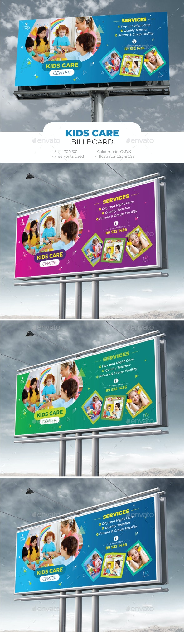 Kids Care Billboard - Signage Print Templates