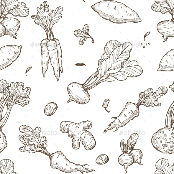 Root Food Sketch Seamless Pattern - Food Objects