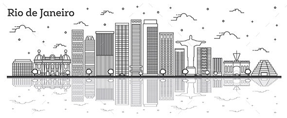 Outline Rio de Janeiro Brazil City Skyline - Buildings Objects
