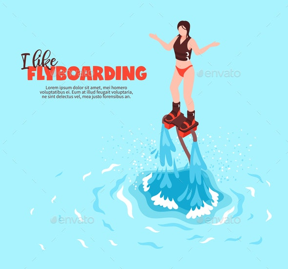 Flyboarding Isometric Vector Illustration - Sports/Activity Conceptual