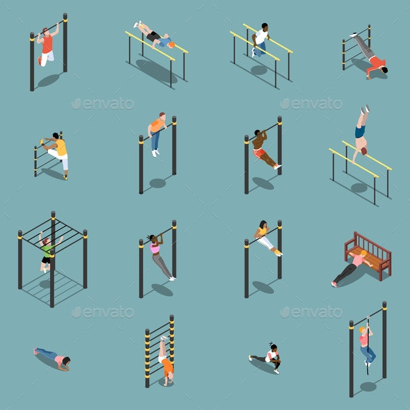 Street Workout Isometric Icons - People Characters