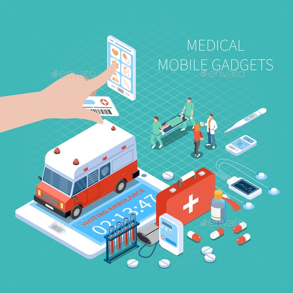 Medical Mobile Gadgets Isometric Composition - Health/Medicine Conceptual
