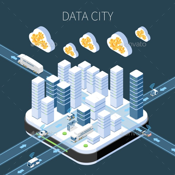 Data City Isometric Composition - Computers Technology