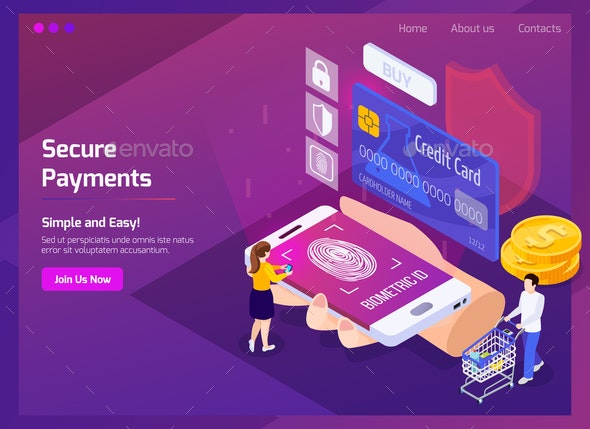 Financial Technology Isometric Web Page - Concepts Business