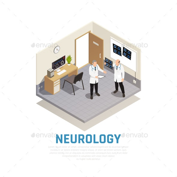 Neurology Isometric Composition - Health/Medicine Conceptual