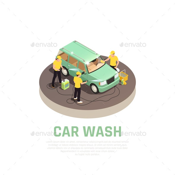 Carwash Isometric Concept - People Characters