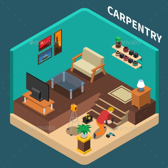 Isometric Carpentry Domestic Composition - People Characters