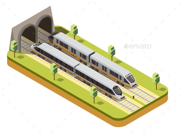 Train Railway Isometric Composition - Miscellaneous Vectors
