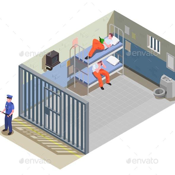 Prison Jail Isometric Composition