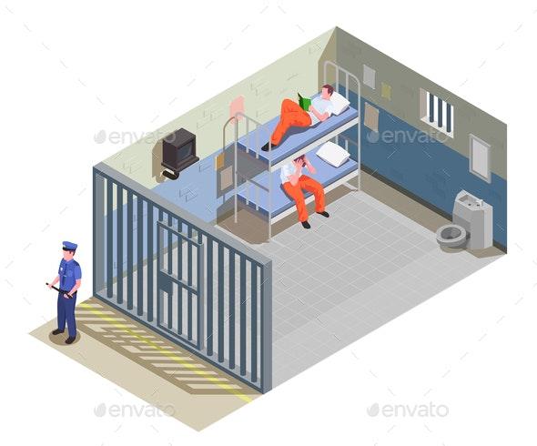 Prison Jail Isometric Composition - Miscellaneous Vectors