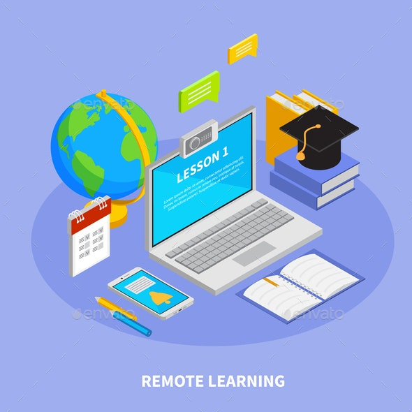 Online Education Isometric Concept - Miscellaneous Vectors