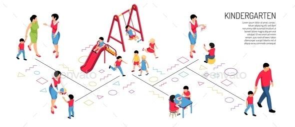 Kindergarten Isometric Horizontal Illustration - People Characters