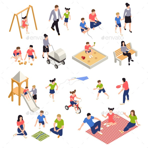Family Playing Isometric Icons Set - Sports/Activity Conceptual