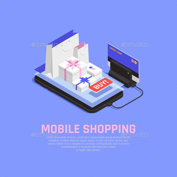 Mobile Shopping and Ecommerce Concept - Food Objects