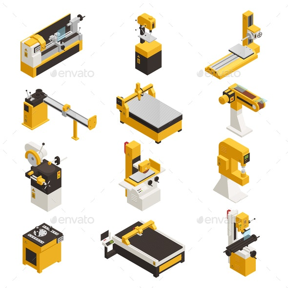 Industrial Machinery Icons Set - Man-made Objects Objects