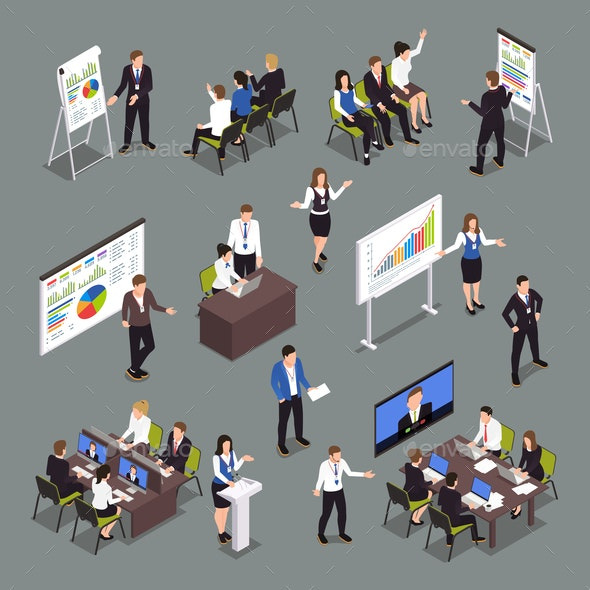 Business Coaching Isometric Icons Set - Concepts Business