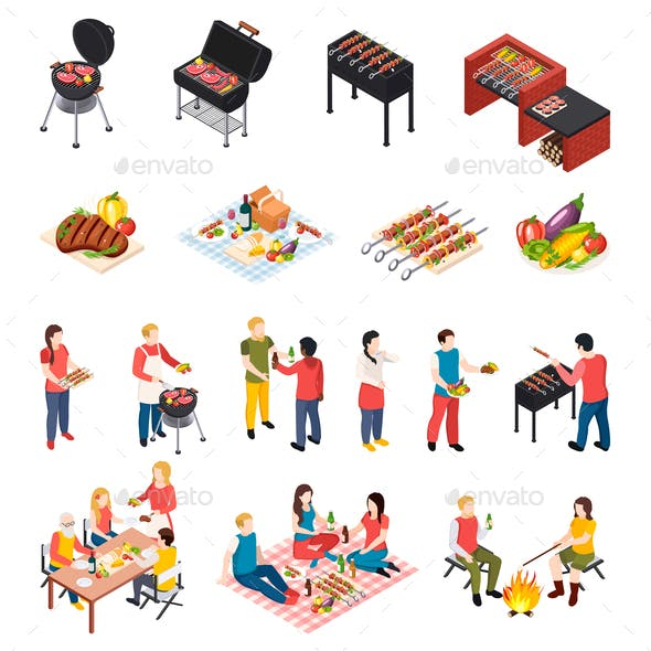 Isometic Bbq Grill Picnic Icon Set