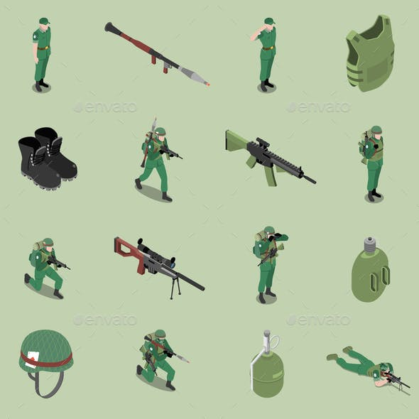 Soldier Equipment Isometric Set