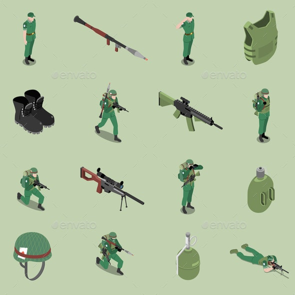 Soldier Equipment Isometric Set - Miscellaneous Vectors