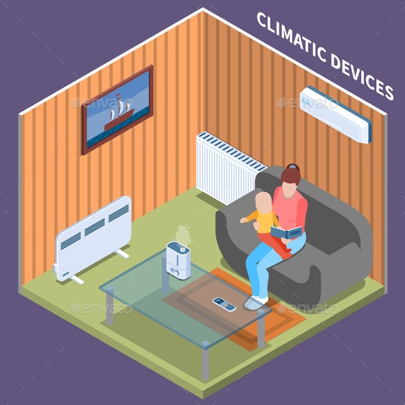 Home Climate Control Isometric Background - Miscellaneous Conceptual