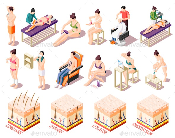 Hair Removal Icons Set - People Characters