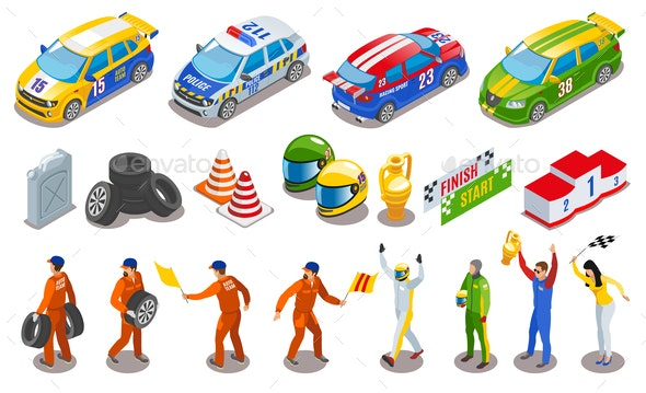 Racing Sports Icons Set - Sports/Activity Conceptual