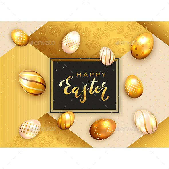 Black Card with Golden Easter Eggs