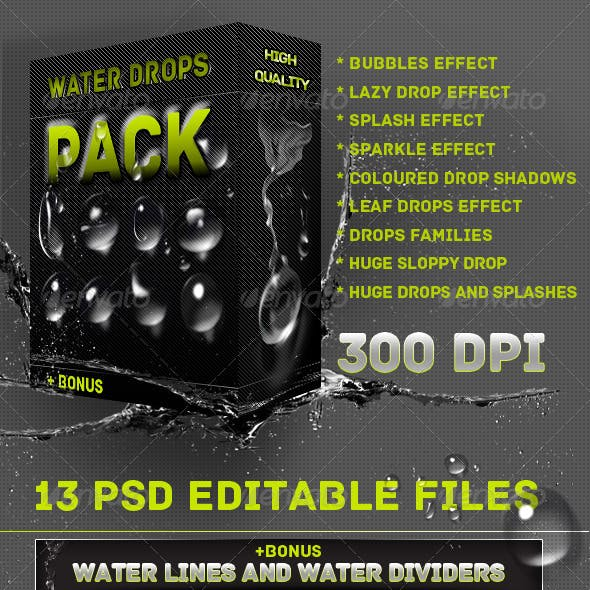 Water Drops And Splashes Pack - Web & Print