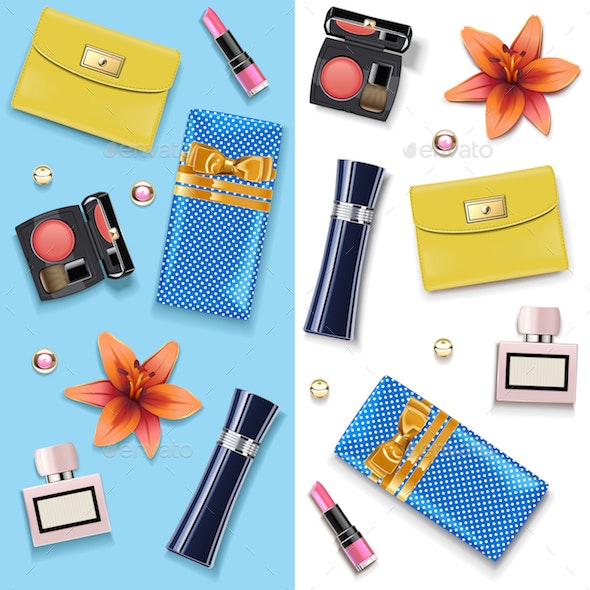 Vector Female Accessories Double Set 4 - Commercial / Shopping Conceptual