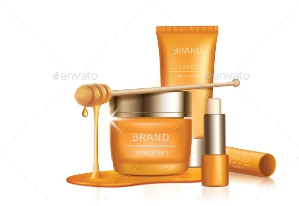 Cosmetic Vector Background with Honey Drips - Organic Objects Objects