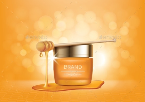 Cosmetic Vector Background with Honey Drips - Health/Medicine Conceptual