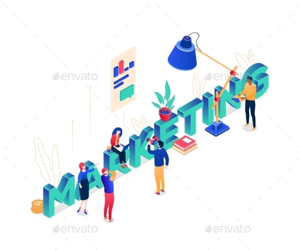 Marketing Concept - Modern Colorful Isometric - Concepts Business