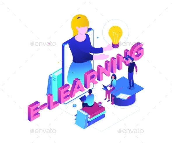 E-learning Concept - Modern Colorful Isometric - Web Technology