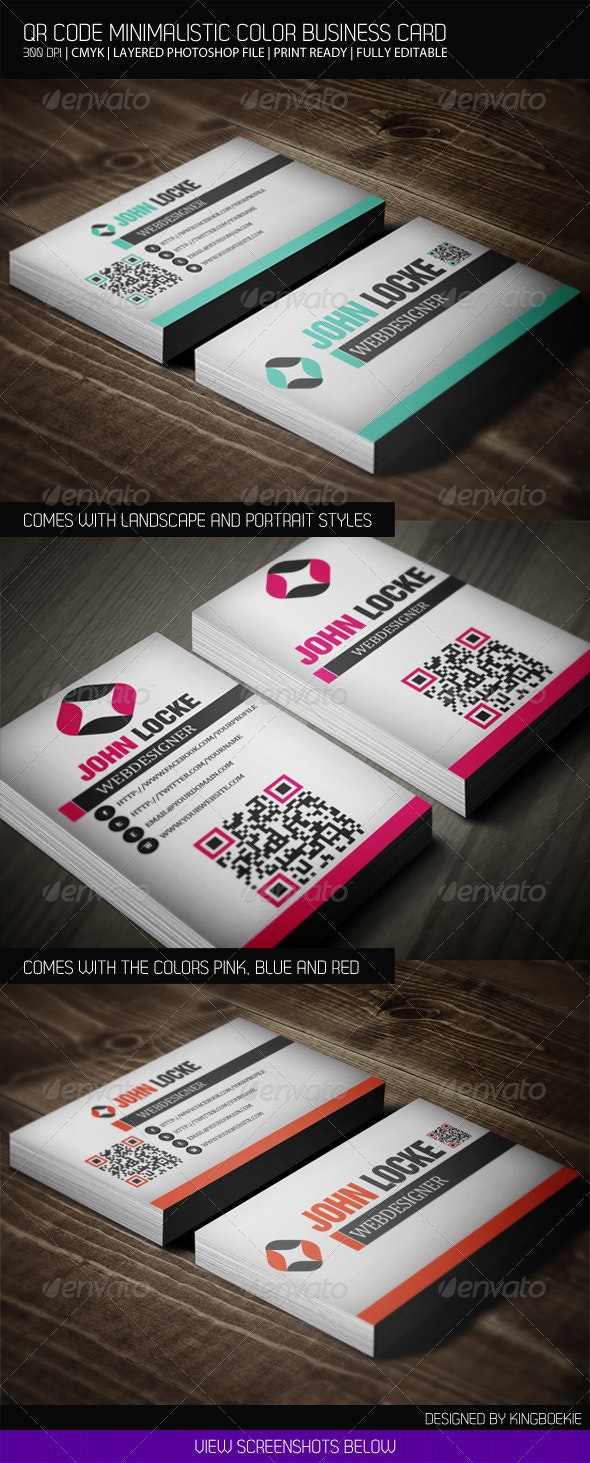 QR Code Minimalistic Color Business Card - Business Cards Print Templates