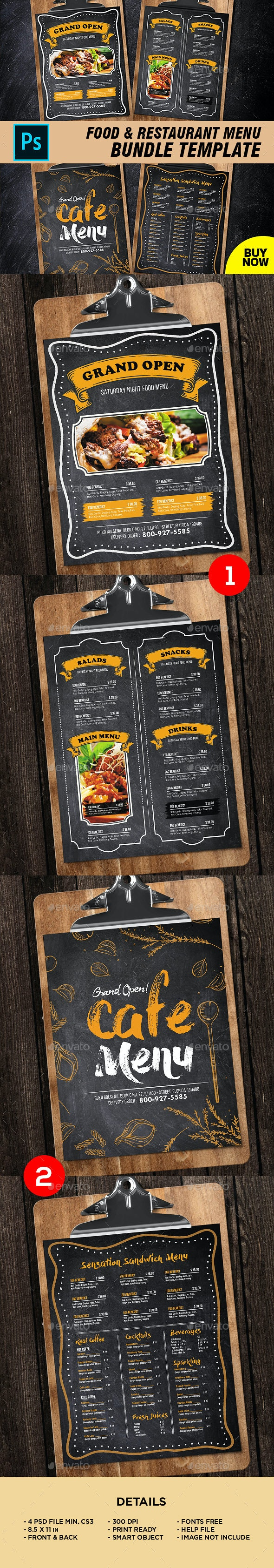 Restaurant Menu Bundle - Food Menus Print Templates