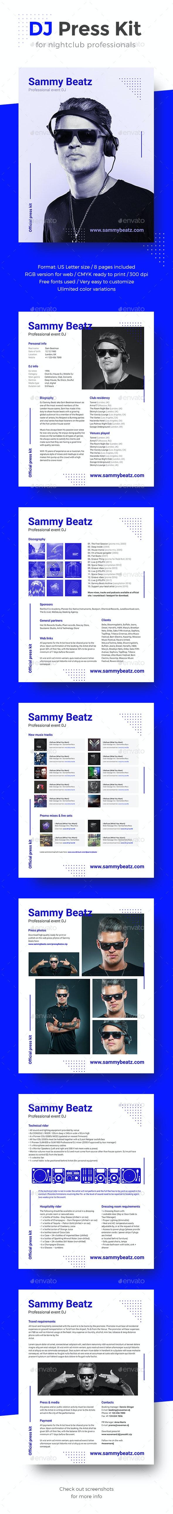 Promo DJ Press Kit / Rider / Resume PSD Template - Resumes Stationery