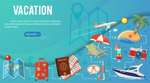 Vacation and Tourism Banner Infographics - Travel Conceptual