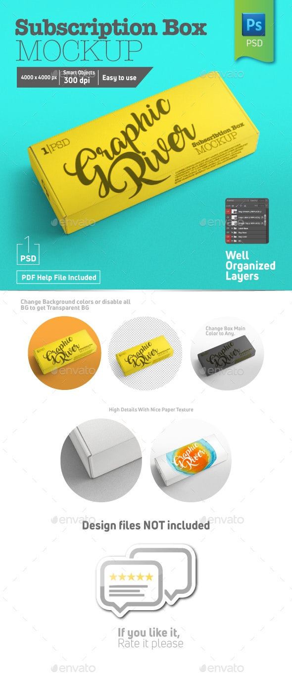 Rectangle Closed Subscription Box Mockup Half Side View - Packaging Product Mock-Ups
