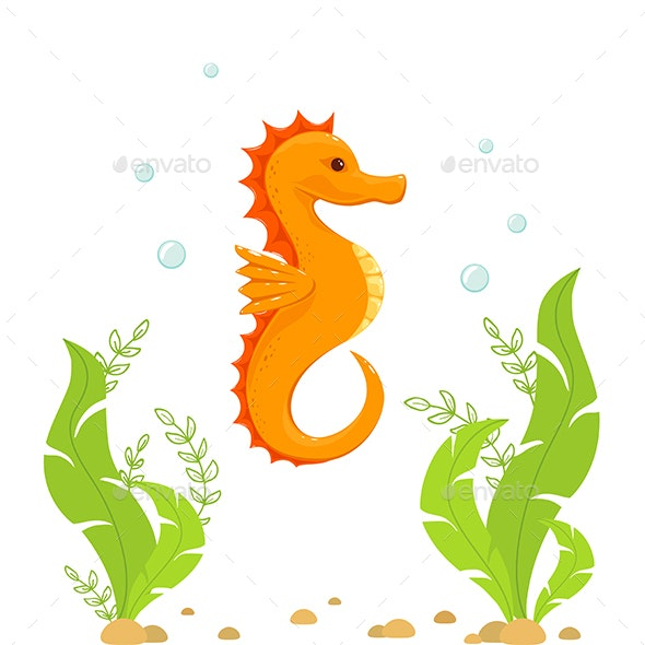Seahorse and Algae Under Water - Animals Characters