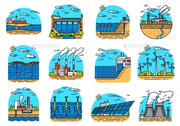 Power Plants Icons - Industries Business