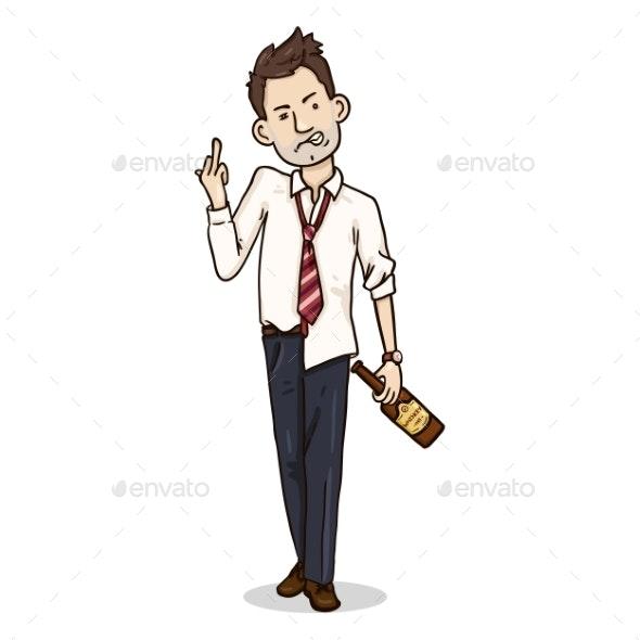 Vector Cartoon Color Character Drunk and Aggressive - Miscellaneous Vectors