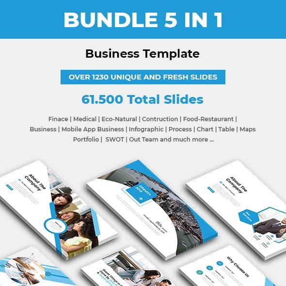 Bundle 5 In 1 PowerPoint Presentation Template 2019